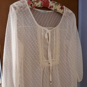 PEASANT/BOHO LACE-TRIMMED SHEER BLOUSE , XL